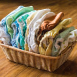 A basket of cloth diapers
