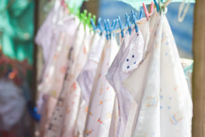 Drying cloth diapers on a hanging line